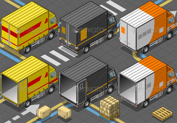 Isometric Delivery Trucks in Rear View - Objects Vectors