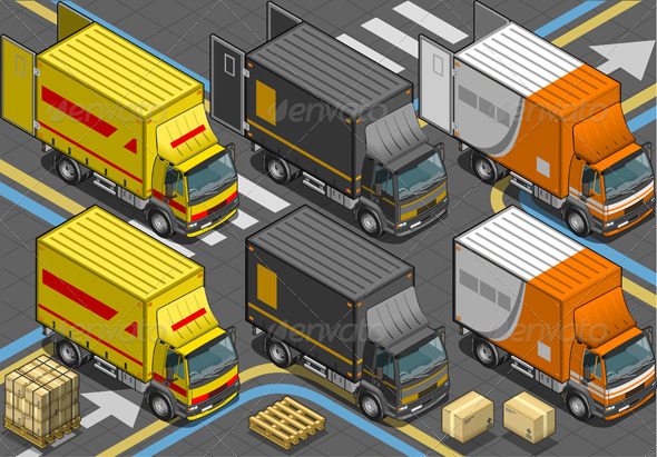Isometric Delivery Trucks in Front View - Objects Vectors