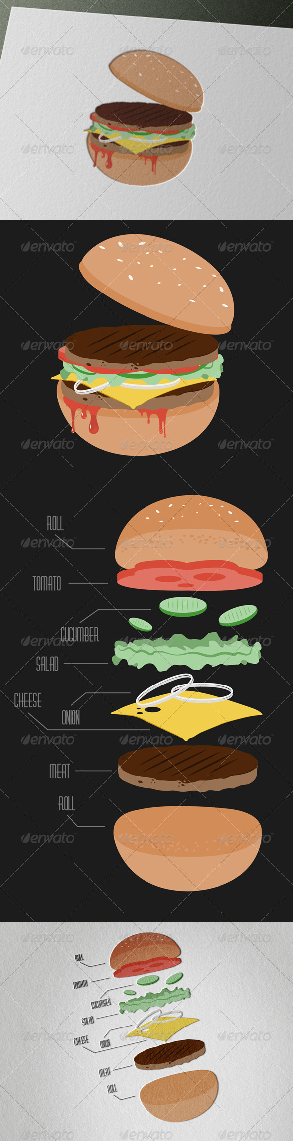 Tasty Vintage Hamburger - Food Objects