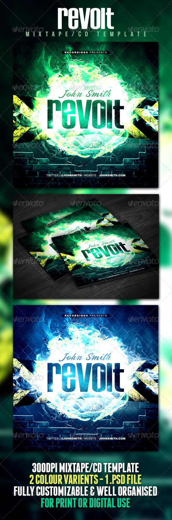 Revolt Mixtape / CD Template - CD & DVD Artwork Print Templates