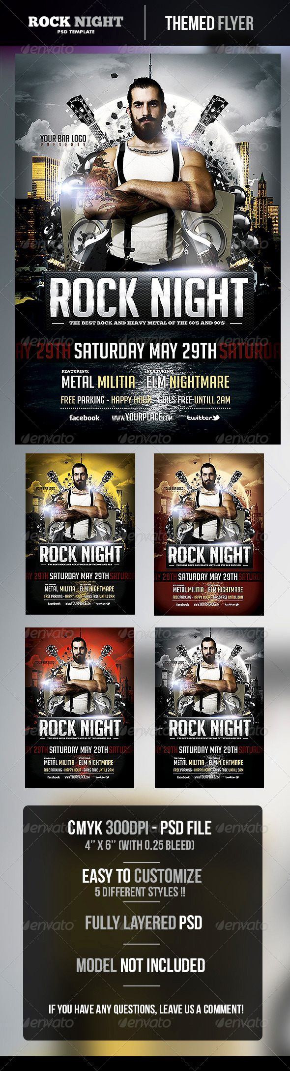 Rock Night Flyer Template - Concerts Events