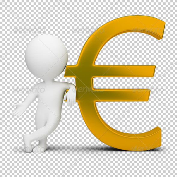 3d small people - euro sign - Characters 3D Renders