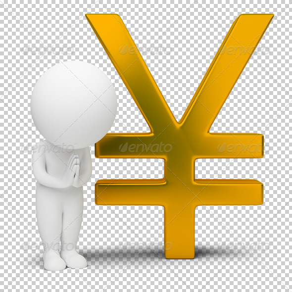 3d small people - yen sign - Characters 3D Renders