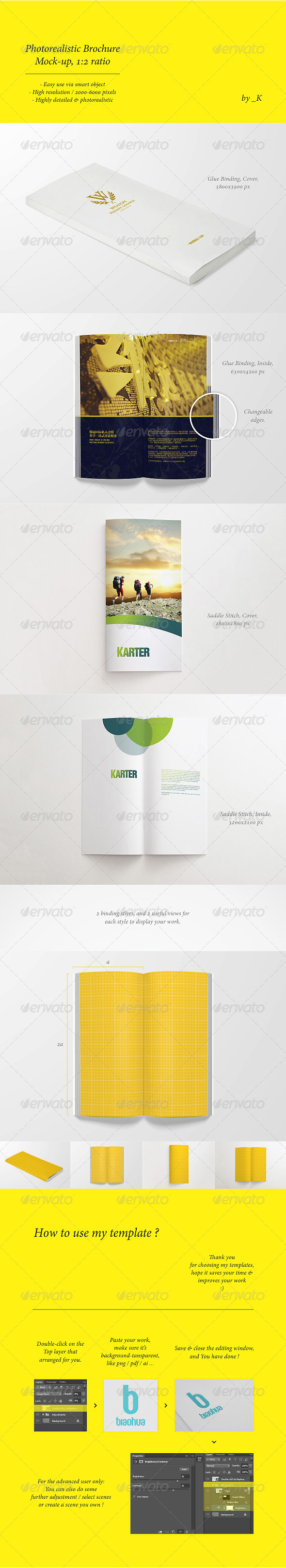 Photorealistic Brochure / Book Mock-Up, 1:2 ratio - Brochures Print