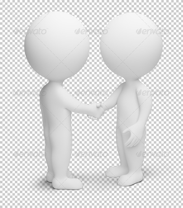 3d small people - handshake - Characters 3D Renders