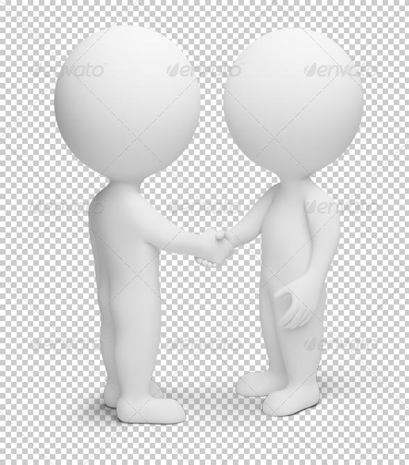 3d small people - handshake - Characters 3D Renders