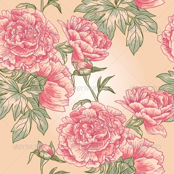 Elegance Seamless Peony Pattern  - Flowers & Plants Nature