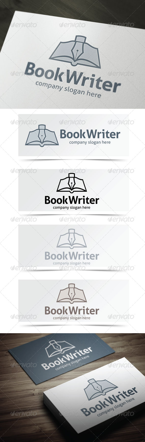 Book Writer - Objects Logo Templates