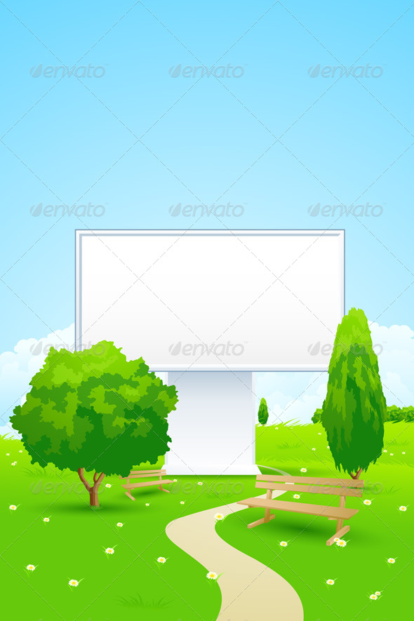 Empty Billboard in the Park - Landscapes Nature