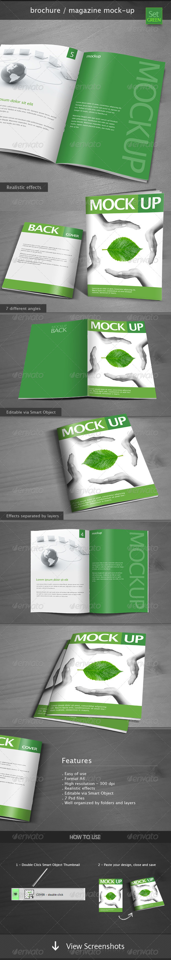 Brochure / Magazine Mock-up Set Green - Brochures Print