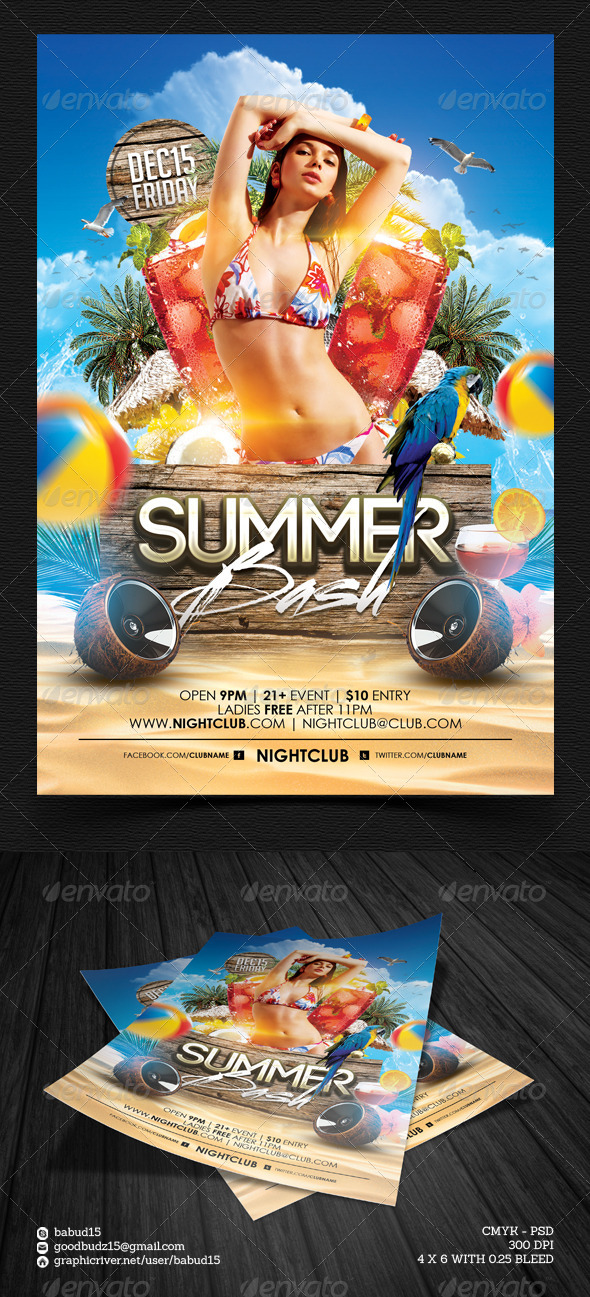 Summer Bash Flyer Template - Events Flyers