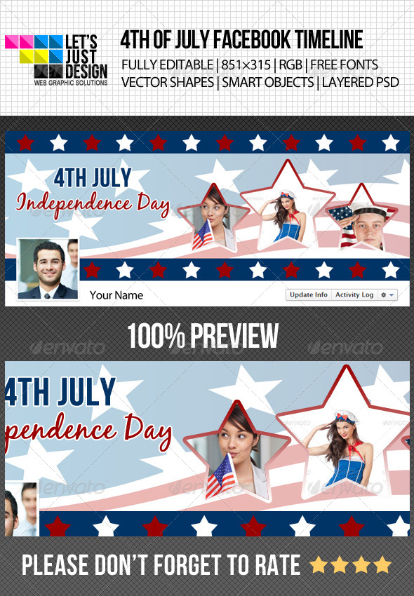 4th of July Independence Day Timeline Cover - Facebook Timeline Covers Social Media