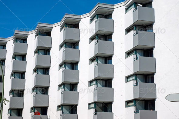 Building with many small balconies - Stock Photo - Images