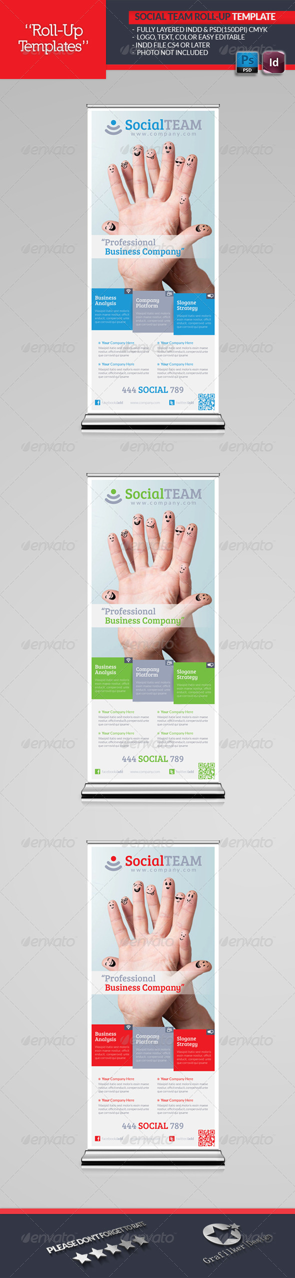 Social Team Roll-Up Template - Signage Print Templates
