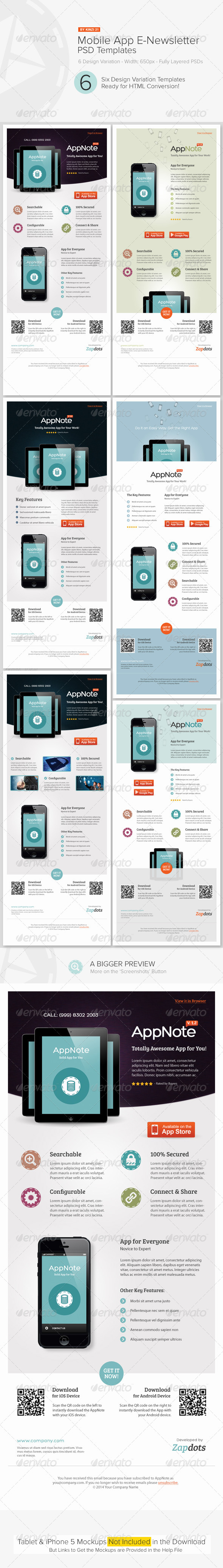 Mobile App E-Newsletter PSD Templates - E-newsletters Web Elements