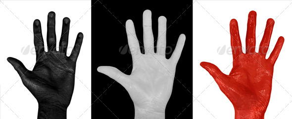 Painted Hands, White, Black & Red (3-Pack) - Miscellaneous Isolated Objects