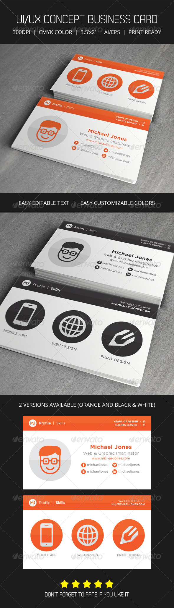 UI/UX Flat Creative Business Card - Creative Business Cards