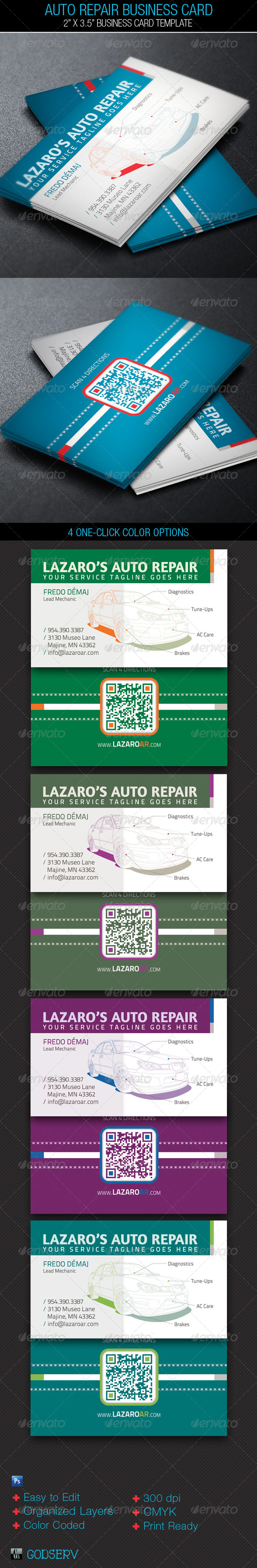 auto repair service business card template industry specific business cards - Auto Repair Business Cards
