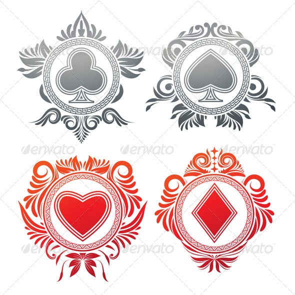 Playing Card Circle Ornament - Decorative Symbols Decorative