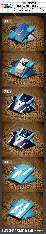 3 IN 1 Corporate Business Card Bundle Vol 1 - Corporate Business Cards