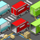Isometric Delivery Trucks in Rear View