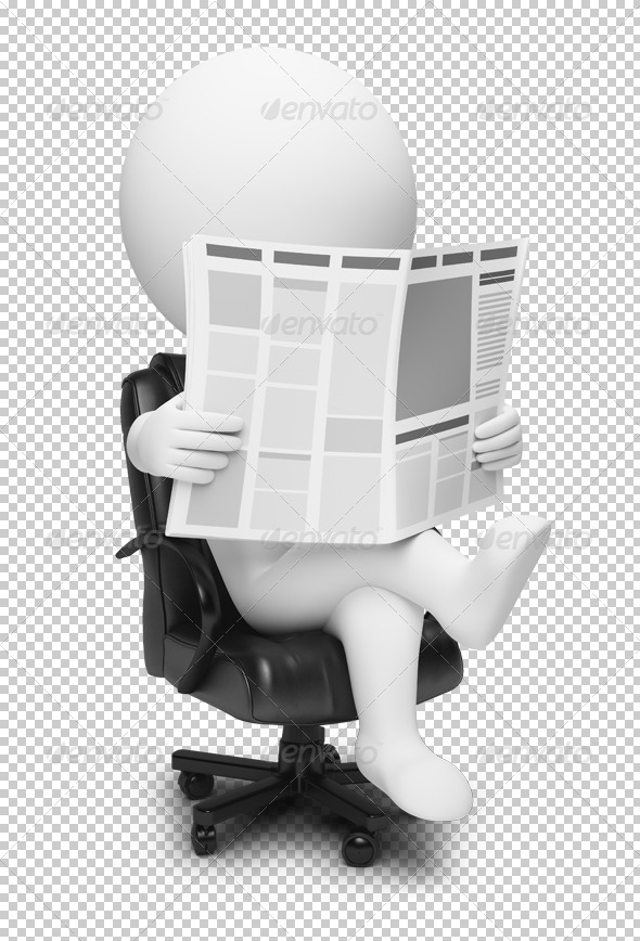 3d small people - newspaper - Characters 3D Renders