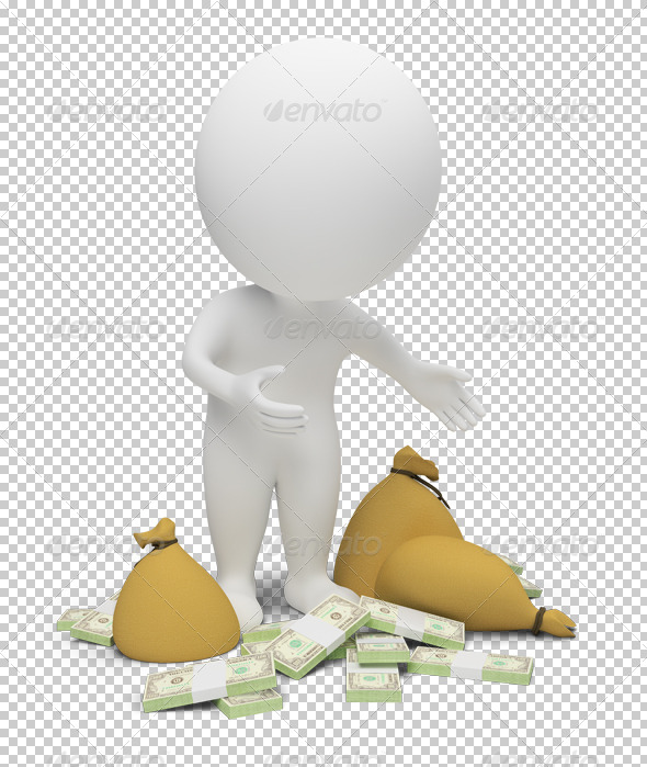 3d small people - money - Characters 3D Renders