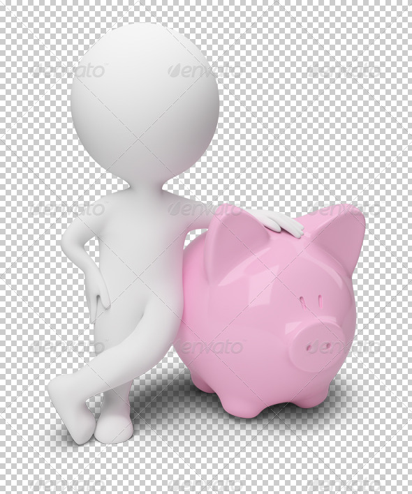 3d small people - money box - Characters 3D Renders