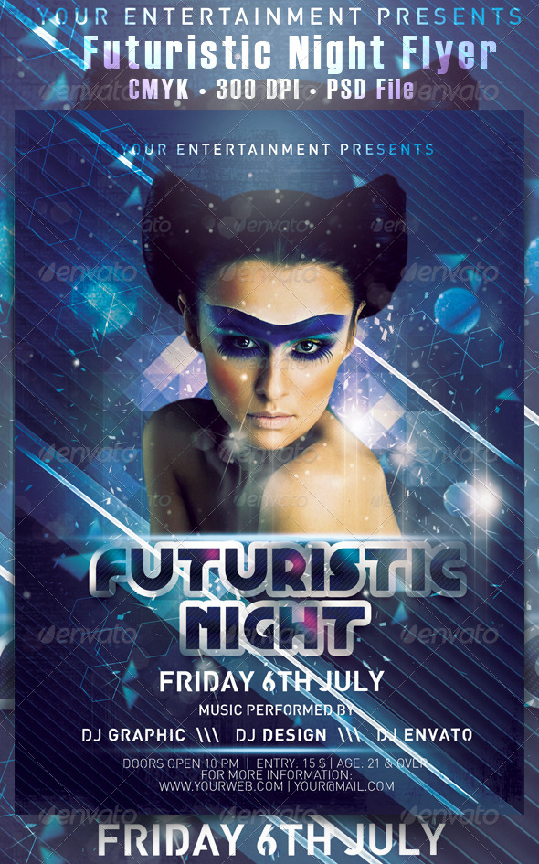 Futuristic Night Flyer - Clubs & Parties Events