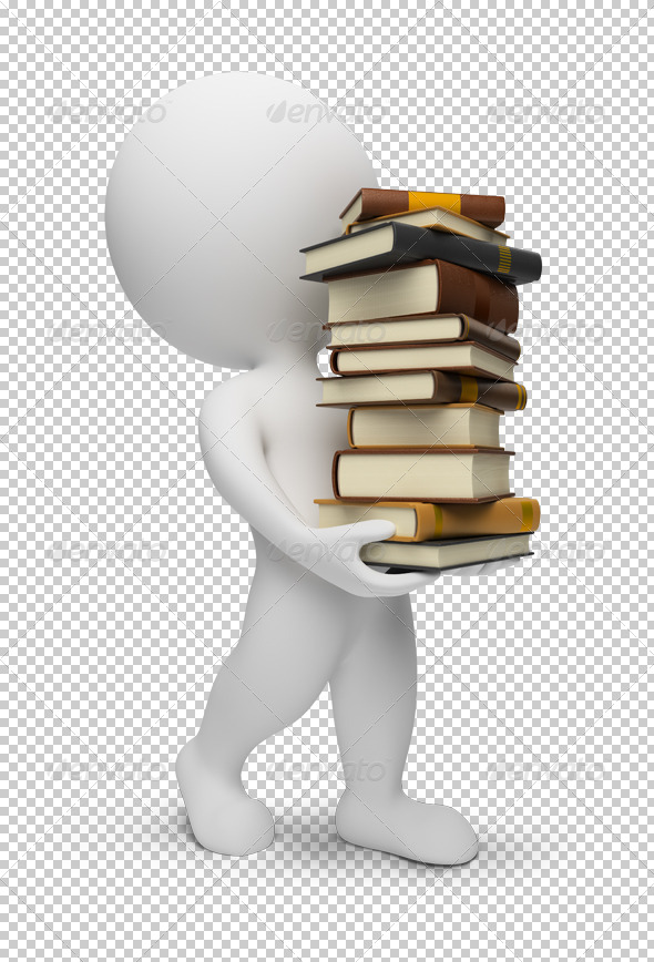 3d small people - carrying the books - Characters 3D Renders