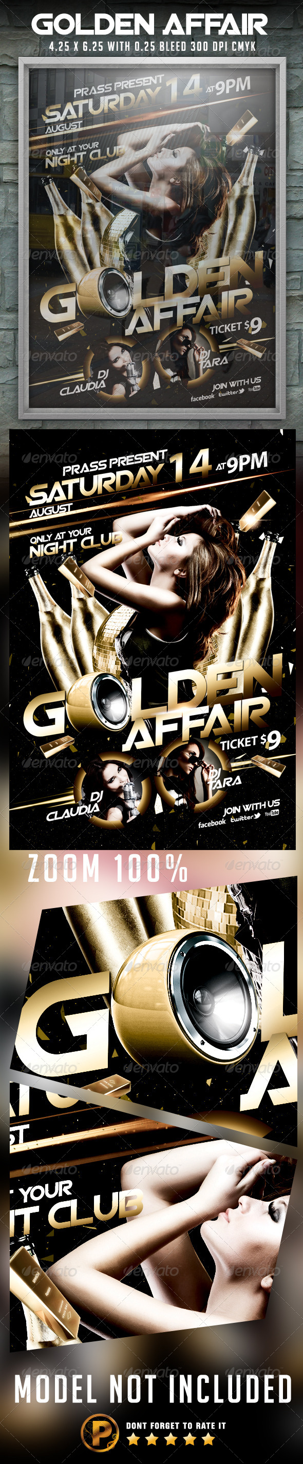 Golden Affair Flyer Template - Clubs & Parties Events