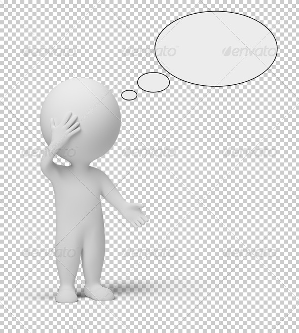3d small people - think - Characters 3D Renders