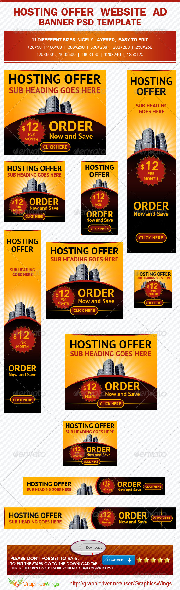 Hosting Offer Banner Ad Template - Banners & Ads Web Elements