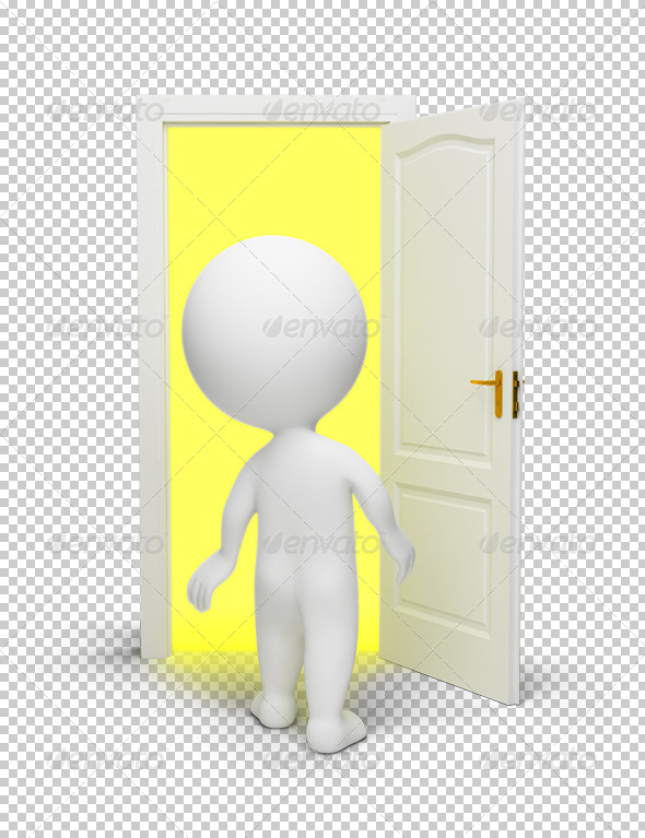 3d small people - open door - Characters 3D Renders