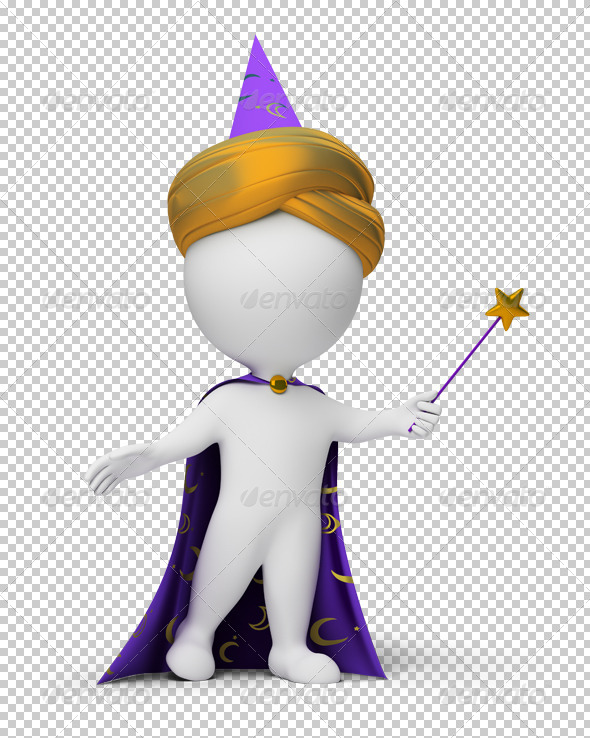 3d small people - magician - Characters 3D Renders