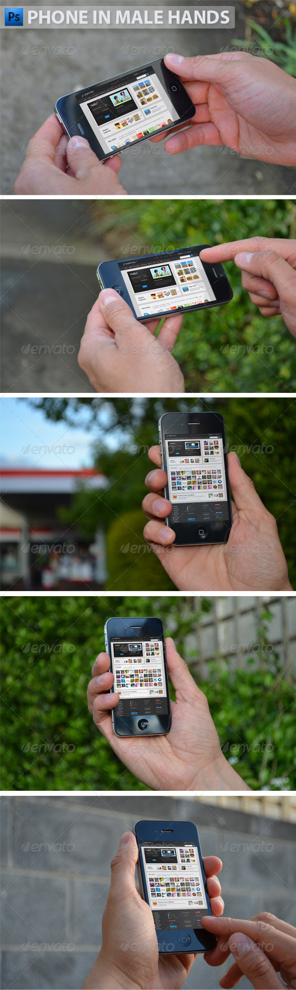 Black Phone in Male Hands - Product Mock-Ups Graphics