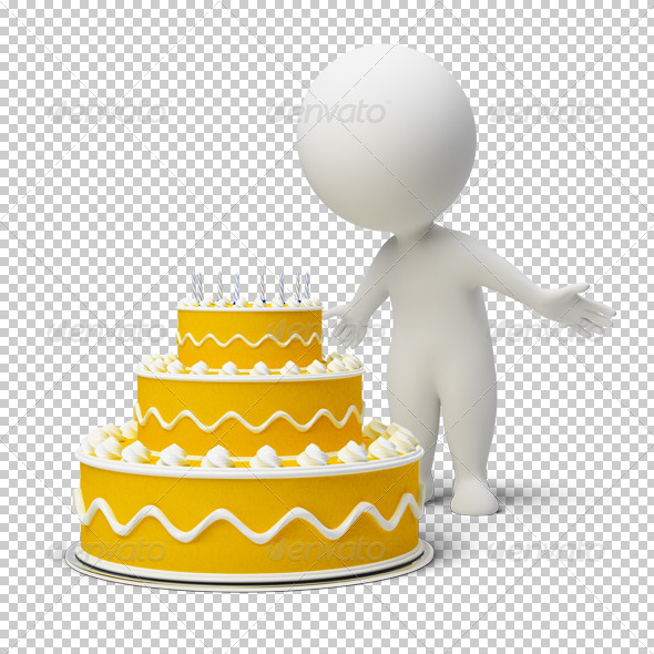 3d small people - birthday cake - Characters 3D Renders