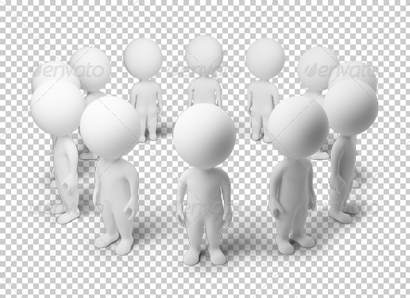 3d small people - standing around - Characters 3D Renders