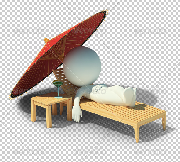 3d small people - rest on a chaise lounge - Characters 3D Renders