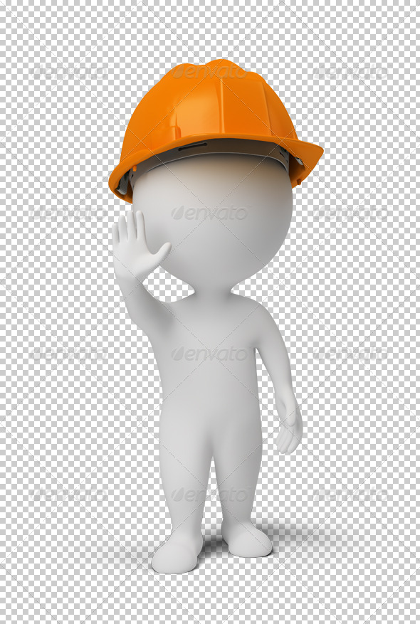3d small people - worker at a stop pose - Characters 3D Renders