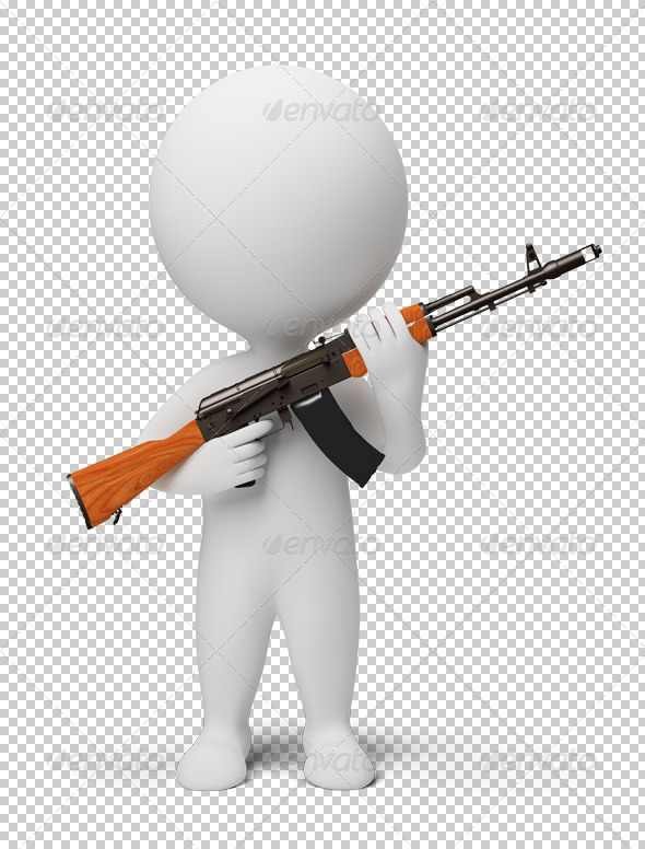 3d small people - soldier with ak74 - Characters 3D Renders
