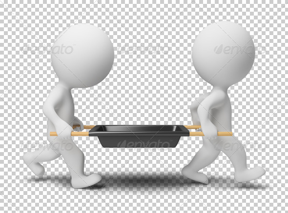 3d small people - workers with a stretcher - Characters 3D Renders