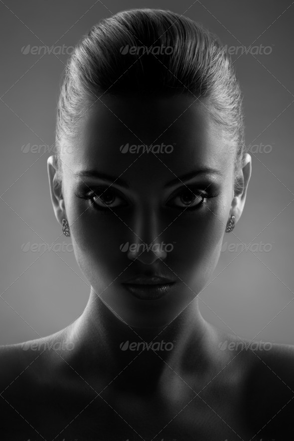 Portrait Of Beautiful Woman in Black & White - Stock Photo - Images