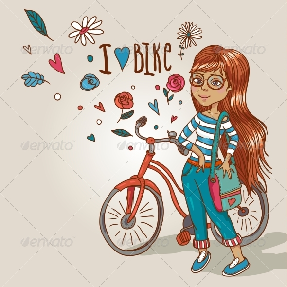 Young Girl with a Bicycle - People Characters