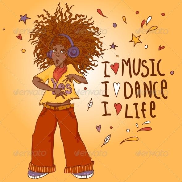 African American Woman in Headphones - People Characters