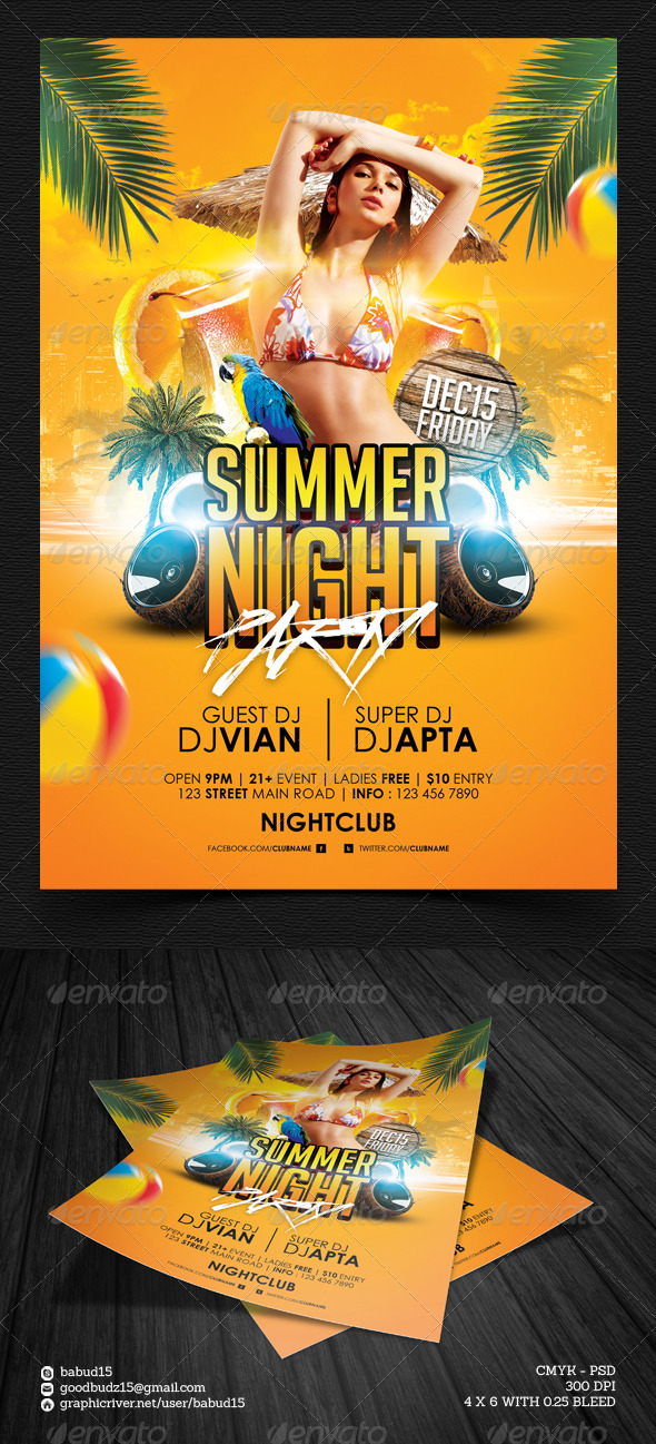 Summer Night Party Flyer Template - Events Flyers