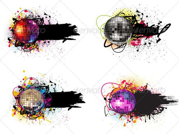 Disco Balls Banner - Vectors