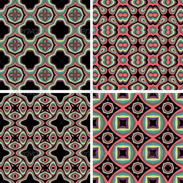 Set of Seamless Colorful Retro Pattern Backgrounds - Patterns Decorative