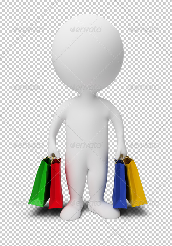 3d small people - carry shopping bags - Characters 3D Renders