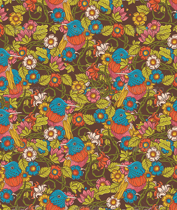 Vintage Floral Seamless Pattern with Humming Bird - Patterns Decorative